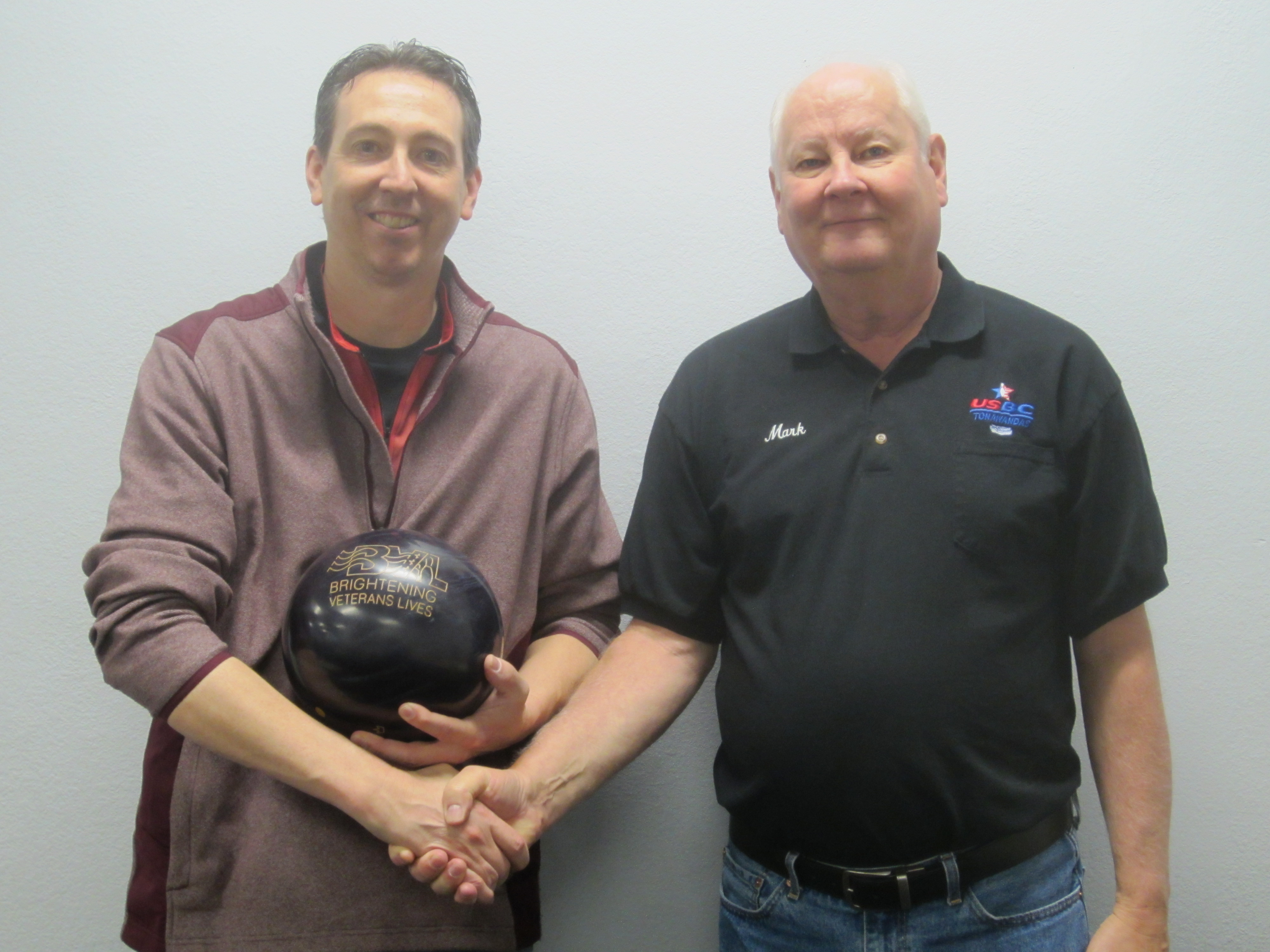 High qualifier Pat Brick (with bowling ball) and Mark Buffington